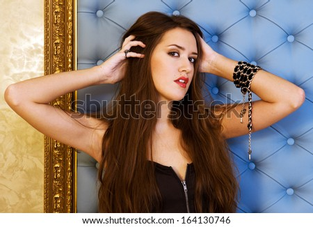 Portrait of the beautiful woman with long hair - stock photo