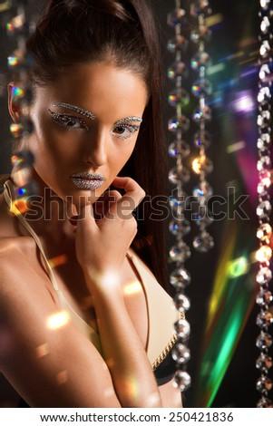 portrait of the beautiful young girl, whose person in jewels - stock photo
