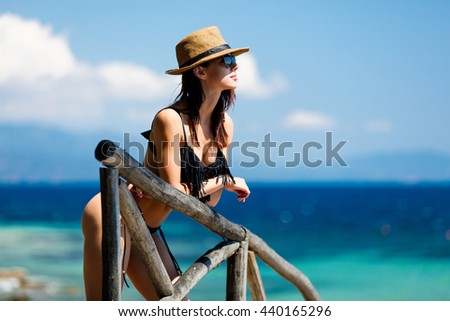 portrait of the beautiful young woman in Greece - stock photo