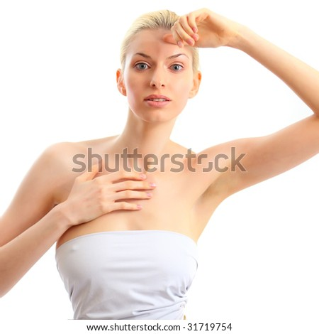 Portrait of the beautiful young woman, isolated on a white background, please see some of my other parts of a body images