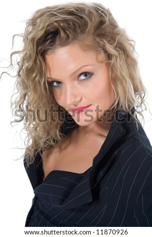 portrait of the blonde with blue eye on white background