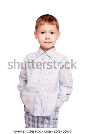 Portrait of the boy. A photo on a white background. - stock photo