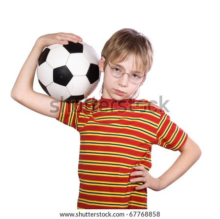 Portrait of the boy wearing spectacles with a ball - stock photo