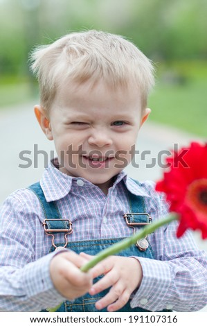 Portrait of the boy with a flower - stock photo