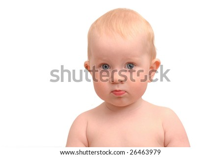 Portrait of the child on a white background