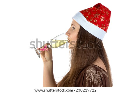 Portrait of the drinking young woman on white background - stock photo