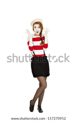 Portrait of the female MIM comedian, isolated on white background - stock photo