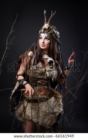 Portrait of the female viking. Awesome body art studio work