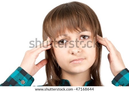 Portrait of the girl beside which pain head insulated on white background - stock photo