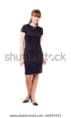 Portrait of the girl in a black dress, a white background