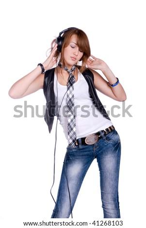 portrait of the girl listenning music in headphones - stock photo
