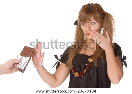Portrait of the girl with chocolate on a white background