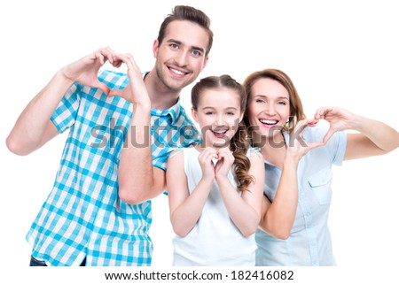 Portrait of the happy european family with child shows the heart shape by hands -  isolated on white background - stock photo