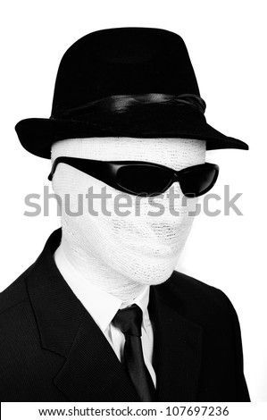 Portrait of The Invisible man with black glasses - stock photo