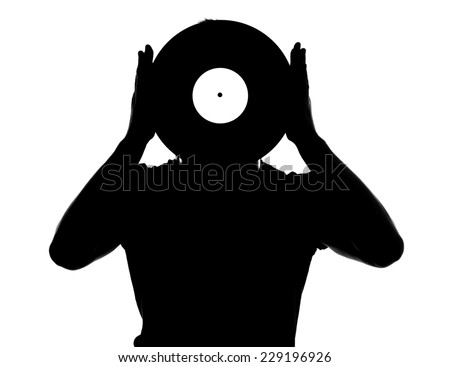 Portrait of the male dj with vinyl record isolated on white background. - stock photo