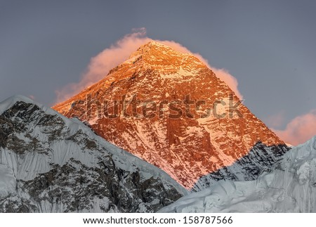 Portrait of the Mount Everest (8848 m) at sunset (view from Kala Patthar) - Everest region, Nepal, Himalayas - stock photo