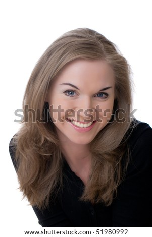 Portrait of the nice blonde, isolated on white