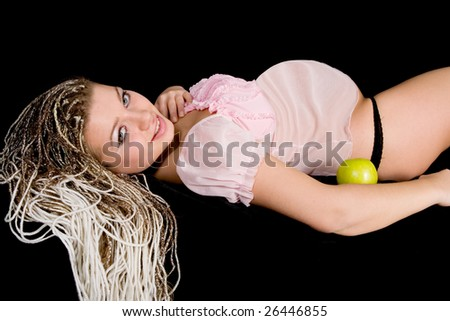 Portrait of the pregnant woman with apple - stock photo