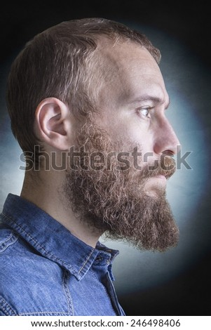 Portrait of the profile of a bearded blonde man - stock photo