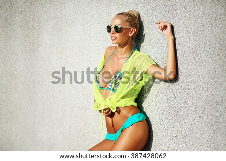 Portrait of the sexy woman model posing outdoor - stock photo