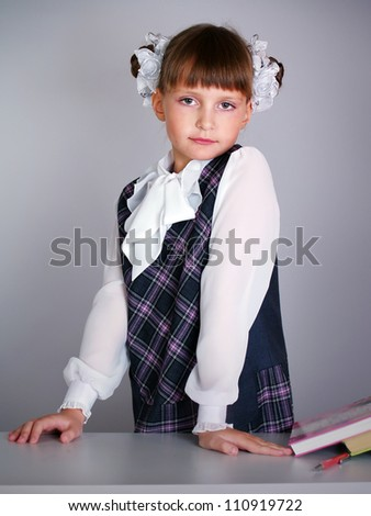 Portrait of the small beautiful schoolgirl a standing up for school desk - stock photo