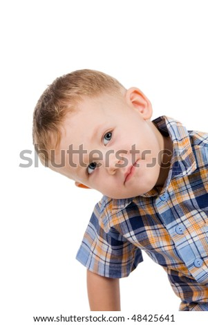 Portrait of the small grey-eyed boy in a checkered shirt, isolated on white - stock photo