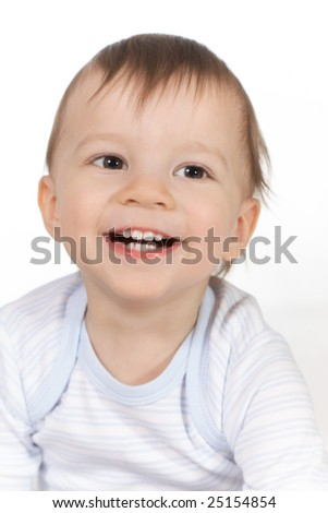 portrait of the smiling baby - stock photo