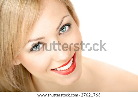Portrait of the smiling blonde on a white background - stock photo