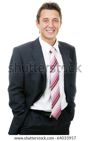 Portrait of the smiling businessman. Isolated on white