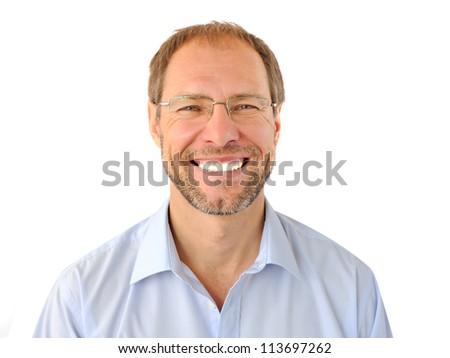Portrait of the smiling man isolated on white background - stock photo