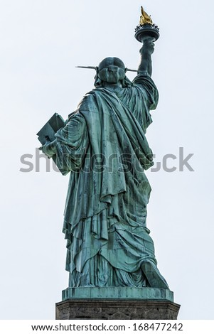 Portrait of the Statue of Liberty in New York city, USA. - stock photo