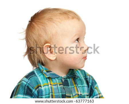Portrait of the two-year boy in  chequered shirt, isolated on white