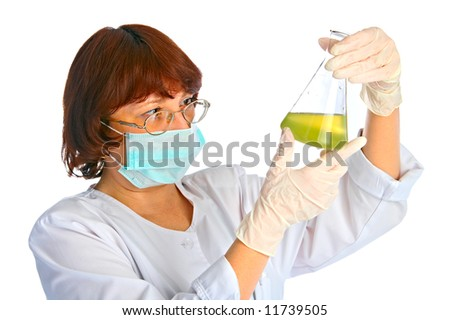portrait of the woman - a laboratory assistant on white background