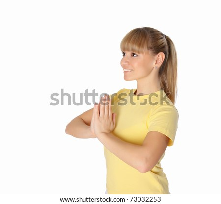Portrait of the young attractive woman doing sports exercises - stock photo