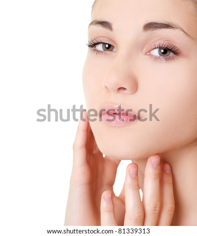Portrait of the young beautiful girl - stock photo