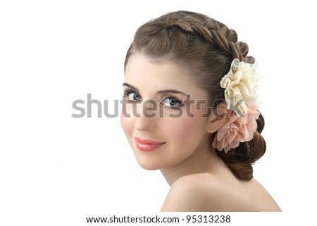 Portrait of the young beautiful girl with colors in hair - stock photo