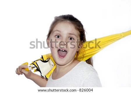 Portrait of the young girl with a umbrella on a white background. - stock photo