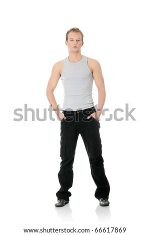 Portrait of the young handsome man isolated on a white background - stock photo