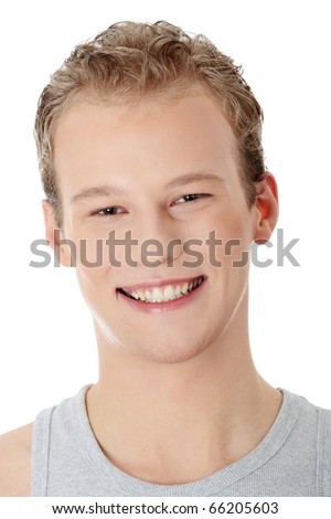 Portrait of the young happy smiling man isolated on a white background - stock photo