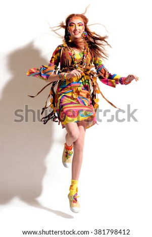portrait of the young pretty hippie girl - stock photo