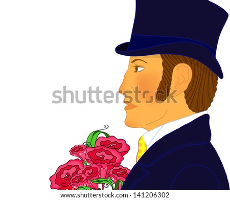 Portrait of the young romantic gentleman with a bunch of flowers