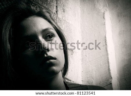 Portrait of the young woman close up - stock photo