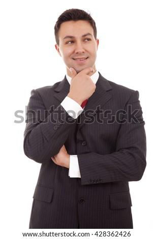 Portrait of thinking businessman, isolated over white background - stock photo