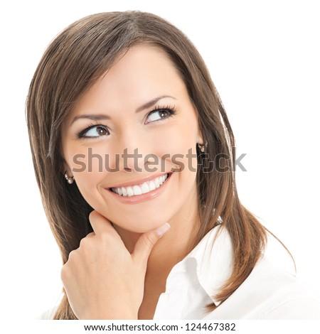 Portrait of thinking businesswoman, isolated on white background - stock photo