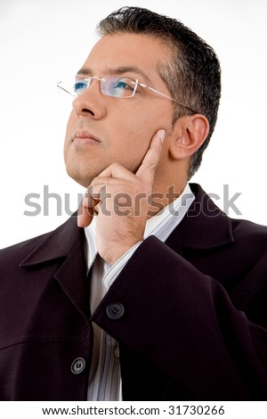 portrait of thinking lawyer on an isolated white background - stock photo