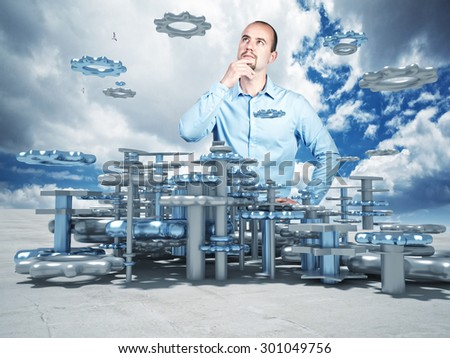 portrait of thinking man and 3d plan - stock photo