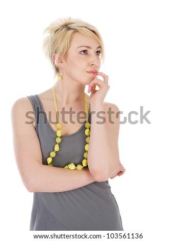 Portrait of  thinking woman.  isolated on white background - stock photo