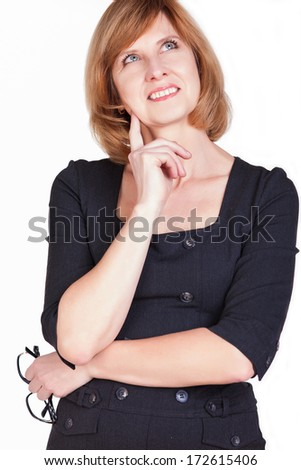 Portrait of thoughtful business woman daydreaming. Isolated on white background. - stock photo