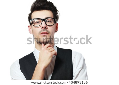 Portrait Of Thoughtful Young Man Looking at you Isolated On White Background - stock photo
