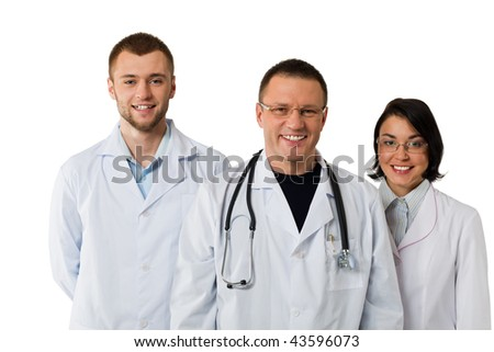 portrait of three doctors isolated on white background - stock photo
